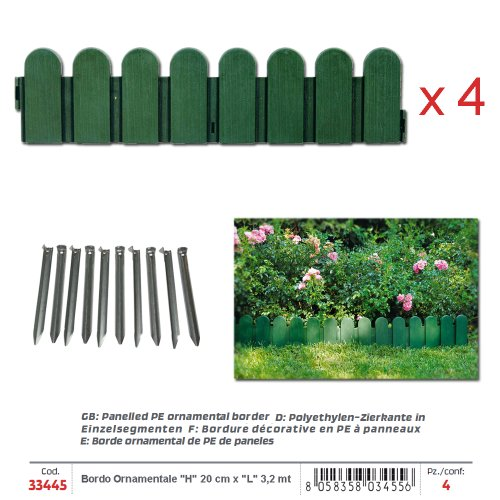 VERDEMAX 344580X 20Cm Moderno Panelled PE Bordo Ornamentale, Colore: Verde (Set Di 4)