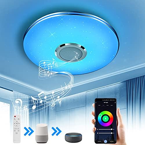 Wayrank Lámpara de Techo Led con Altavoz Bluetooth, Plafon Led Techo RGB Controlada por APP y Control Remoto para Cocina Dormitorio, Compatible con Alexa Google Assistant, 36W