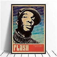 Suuyar グランドマスターフラッシュミュージックシンガーポスターヒップホップラップミュージックバンドスターポスターとリビングルームのキャンバスにウォールアートプリントをプリント-20X28インチX1フレームレス