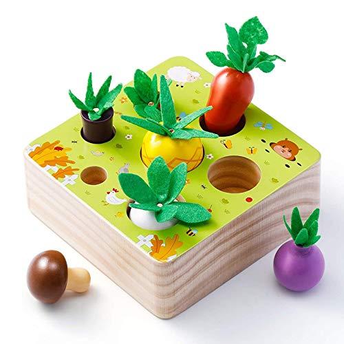 Babyhelen Holzspielzeug ab 1 Jahr, Baby Motorik Spielzeug für Jungen und Mädchen, Happy Farm Montessori Spielzeug Sortierspiel Lernspielzeug für Kinder als Geschenk