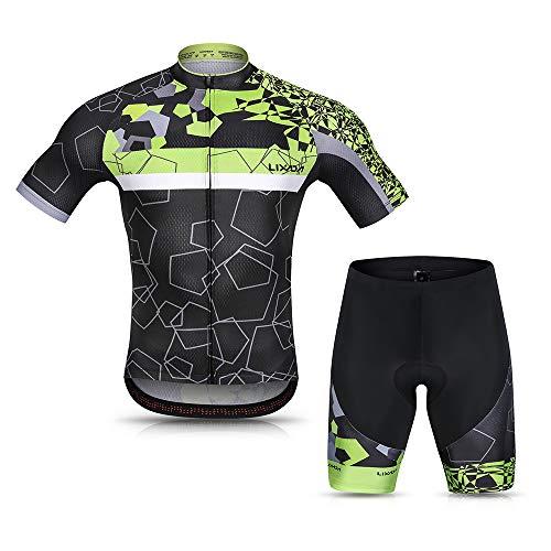 Lixada Herren Radtrikot Set Atmungsaktiv Schnelltrocknend Kurz Ärmel Radfahren Hemd und Gel Gepolstert Kurze Hose