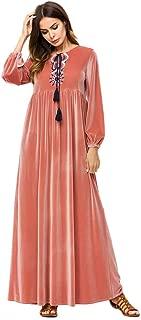 Women Long Sleeve Floral Embroidered Retro V Neck Tassel Bohemian Long Dresses