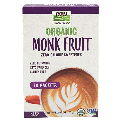 Now Foods Real Food Organic Monk Fruit ZeroCalorie Sweetener 70 Packets 247 oz 70 g