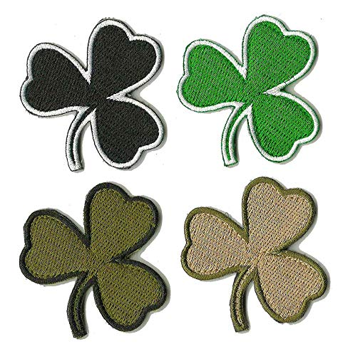 Antrix 4 Pieces Tactical Hook and Loop Shamrock Clover Patches Full Embroidery Military Lucky Patches for Hats,Bags,Backpacks,Clothes,Vest,Military Uniforms,Tactical Gear Etc.
