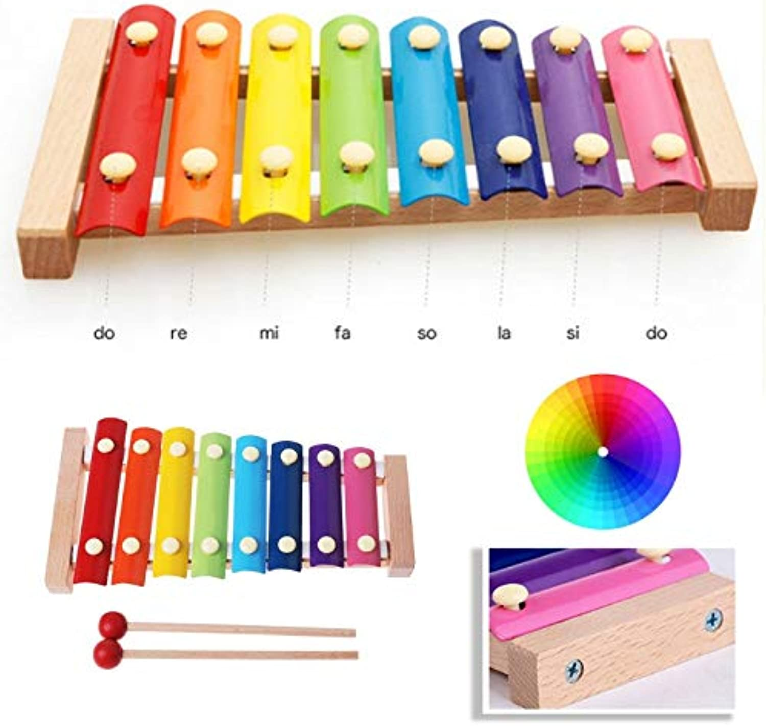 Learning Education Wooden Xylophone 8Note Music Instrument for Kid Baby Toy   colorful