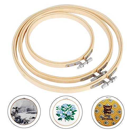 Siumir Telaio da Ricamo bambù Cerchi da Ricamo 11.5 cm, 16 cm, 18 cm Rotondo Punto Croce Cerchi per Fai da Te Arte Artigianato (3 PCS)