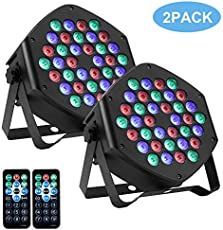 [New Version]LUNSY RGB Stage Lighting 2Pack, 36LED Dj Par Lights, Uplighting for Events, Sound Activated, Remote and DMX Control, for Wedding, Party, Concert, Festival