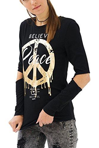 trueprodigy Casual Damen Marken Long Sleeve Aufdruck Oberteil Cool Stylisch Rundhals Langarm Slim Fit Langarmshirt für Frauen Bedruckt, Größe:XS, Farben:Schwarz