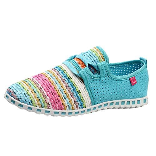 Mymyguoe Damen Bunte Gewebte Schuhe Leichte Laufschuhe Sneakers Einzelne Schuhe beiläufige Frühling und Herbst Geflochtenes Seil Low Schuhe Schlüpfen Gemütlich rutschfest (Hellblau, Numeric_38)