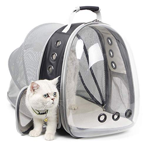 Expandable Cat Carrier Backpack, Space Capsule Bubble Cat Carrier for Small Dog, Pet Hiking Traveling Camping Backpack (Black, Back Expandable)