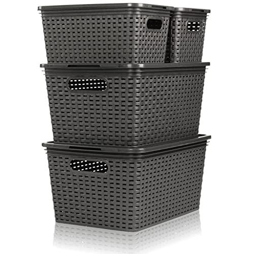 Hausfelder Aufbewahrungsbox Aufbewahrungskorb mit Deckel | 8-teiliges Ordnungsboxen Set | Rattan Design Körbe (Anthrazit-Grau)