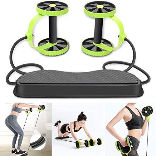 Allabcd Doppel AB Roller Rad Fitnessausrüstung Bauchtraining Maschine, Ideal Männer Frauen Home Gym Coaster Pull Roda Taille Abnehmen Trainer