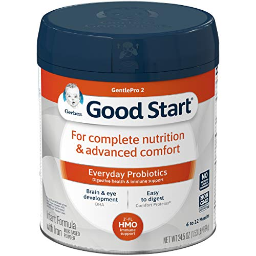 Gerber Good Start GentlePro (HMO) Non-GMO Powder Infant Formula, Stage 2, Gentle Baby Formula with Iron, 2'-FL HMO and Probiotics for Digestive Health and Immune System Support, 245 Ounces (Pack of 4)
