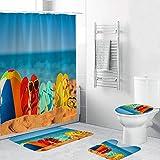 NBONIDA-KL 4 unids/Set Juego de Accesorios de baño Cortinas de Ducha de Estilo Chino + Alfombra de baño + Cubierta de Alfombra de baño Cortinas de Alfombra de baño # 30