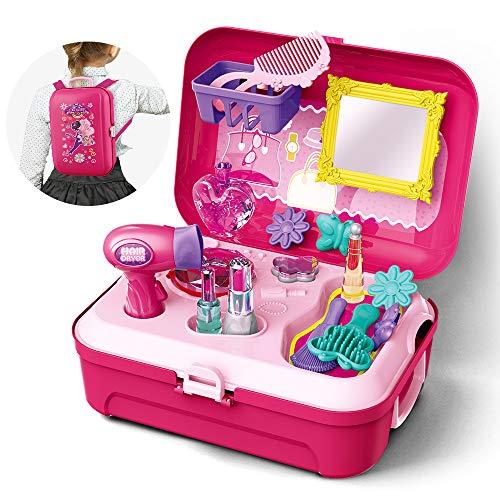GizmoVine Prinzessin Rollenspiel Schminkset ,Schminkset kinderfön ,Spielzeug Schminksachen Schönheit Koffer Umhängetasche für Kinder Mädchen für 2 3 4 5 Jährige Kinder (Rollenspiel Schminkset)