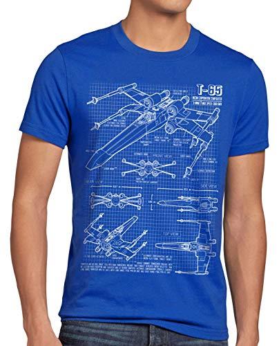 style3 X-Wing T-Shirt da Uomo Cianografia t-65, Dimensione:XL, Colore:Blu