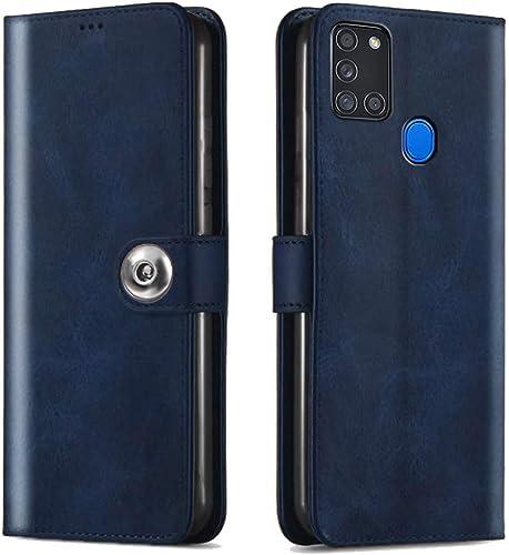 Thegiftkart Genuine Leather Finish Samsung Galaxy A21s Flip Cover Back Case Inside Pockets Inbuilt Stand Wallet Style Designer Button Magnet Closure Blue