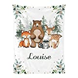 Elegant Greenery Woodland Forest Animals Personalized Baby Blankets with Name for Boys Girls,Custom Receiving Baby Blankets Swaddle Nursery Newborn Gifts 30 X40 inches