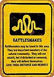 Wall-Color 7 x 10 Metal Sign - Rattlesnake Warning - Vintage Look