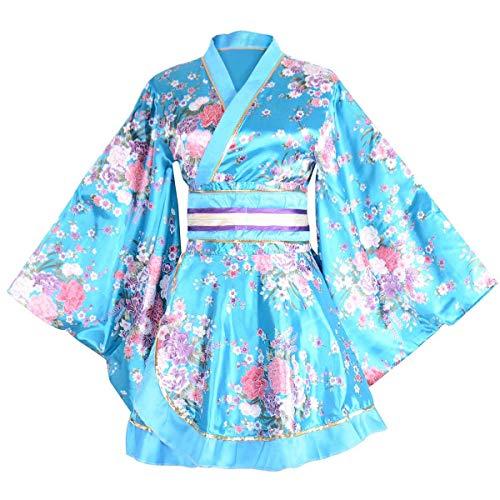 セクシー 着物ドレス 花魁 コスプレ衣装 ショート丈 花柄 和服 コスチューム 浴衣 ナイトドレス (青)