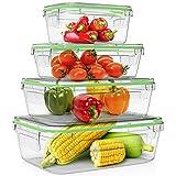 Home Fleek - Set de 4 Envases de Vidrio Rectangular para Alimentos | Recipientes Herméticos de...