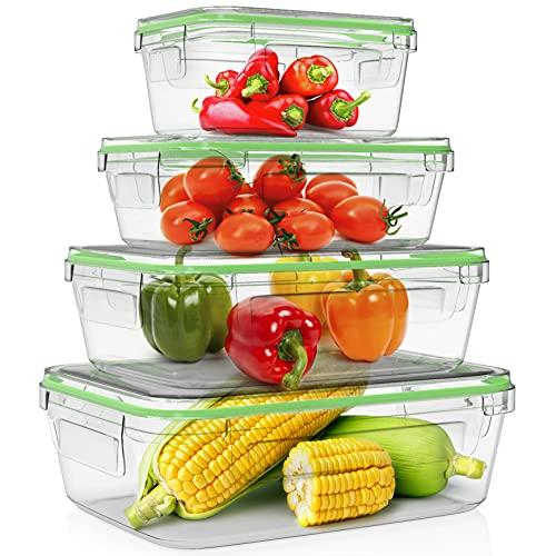 Home Fleek - Boite Alimentaire en Verre Rectangulaire | Hermétique | sans BPA (Lot de 4, Vert)