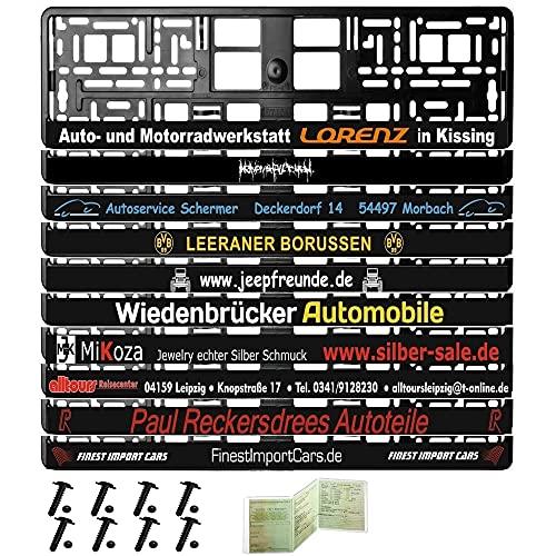 1 Paar Kennzeichenhalter schwarz mit Wunschtext individuell Bedruckt inkl. Befestigungsmaterial , Montageanleitung , Fahrzeugscheinhülle