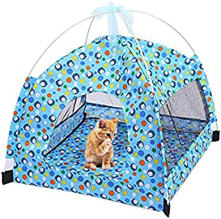 Mumoo Bear Cat Tent Pet Camping House Foldable Pets Bed Durable Floral Dots Cave with Air Mesh for Small Dogs and Cats (Blue)