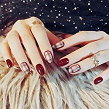 GGSELL Fake Nail Artificial Flase Nails With Glue - 24pcs Fake False Nails Tips Red Pointed Head Full Cover Nail Tips Long Style Nude