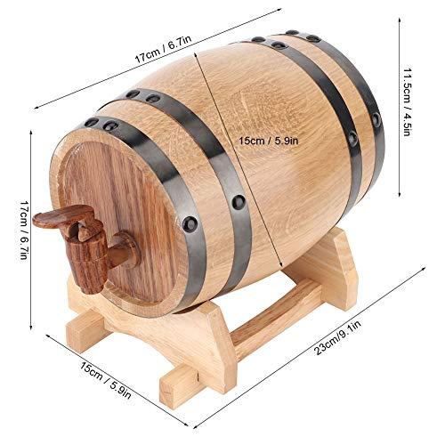 Barril de vino de madera barril a prueba de fugas 1L para brandy para barra (color primario aro negro, 1L, azul)
