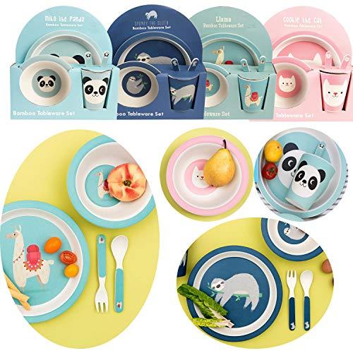 LS-Design Bambus Kinder Geschirr Set Alpaka Lama 5-teilig BPA-Frei Schüssel Tasse Teller Besteck