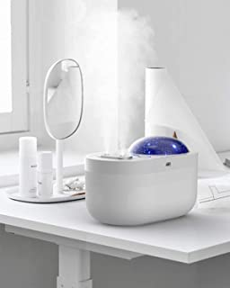 Portable Small Dual Mists Ultrasonic Humidifier with Blue Ocean and Star Sky Light Projector 1000ml, Rechargeable with Nig...