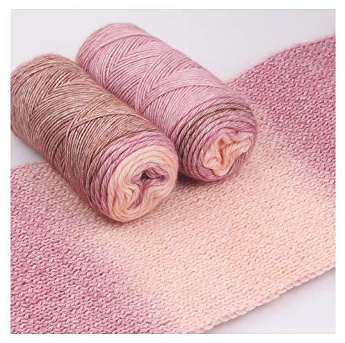 Kleurovergang gebreide sjaal garen, sectie geverfd fancy katoenen garen, met de hand gebreid wollen garen DIY materiaal pakket voor het breien van sjaal-09