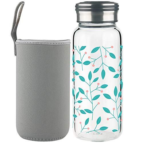 Cleesmil Sport Trinkflasche Glas Wasserflasche 600 ml BPA Free Glasflasche mit Neoprenhülle (dünne Blätter)