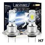 Bevinsee H7 Motorcycle Headlight LED White Hi/Low Beam Bulbs 6500K,2pcs