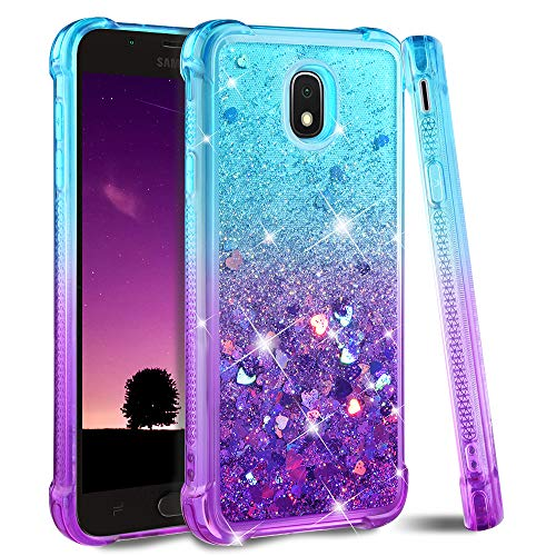 Ruky Galaxy J7 2018 Case,Galaxy J7 Refine Case,Galaxy J7 Star Case,J7 Crown Case,Galaxy J7 V J7V 2nd Gen Case,J7 Aura Case, Glitter Flowing Liquid Phone Case for Samsung Galaxy J7 2018 (Teal Purple)