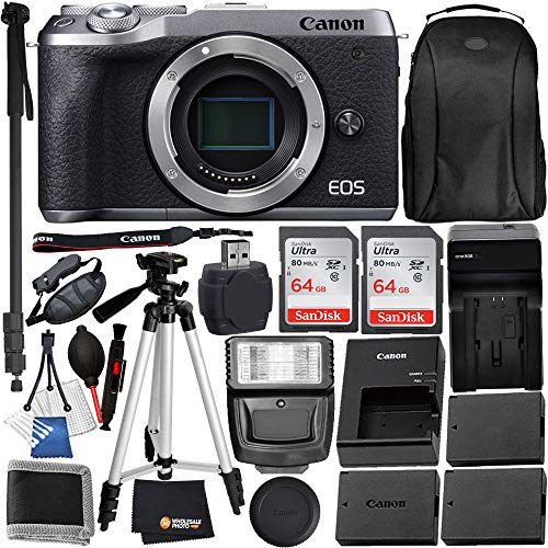 Canon EOS M6 Mark II Mirrorless Digital Camera SLV Body Only (3612C001) + 15PC Accessory Bundle – Includes 2X SanDisk Ultra 64GB SDXC Memory Card + 2X Extended Life Replacement Battery (LPE17) + More