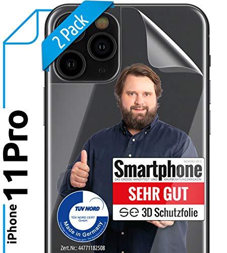 [2 Stück] 3D Schutzfolien für die Rückseite kompatibel mit iPhone 11 Pro [Made in Germany - TÜV Nord] - Transparent - Selbstheilend - kein Glas sondern Panzerfolie TPU - Klar - Back