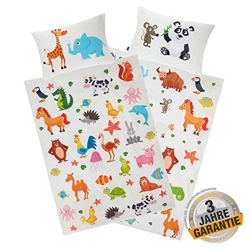Aminata Kids Kinderbettwäsche Zoo-Tiere 100 x 135 cm Tier-Motiv aus Baumwolle mit YKK Reißverschluss - Wende Kinder-Bettwäsche-Set mit Safari & Dschungel mit Giraffe, Elefanten, Panda, Pferd Ecru