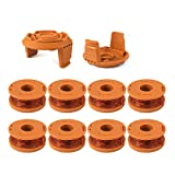 Thten Replacement Trimmer Spool Line for Worx WA0010 WG180 WG163 Weed Wacker Spool with WA6531 GT Spool Cover 50006531 String Trimmer Refills 10ft 0.065' 10 Pack (8 Spools, 2 Trimmer Cap)