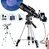 BNISE Telescope for Kids Adults Astronomy Beginners Refractor Telescope 70mm Objective Lens, 400mm