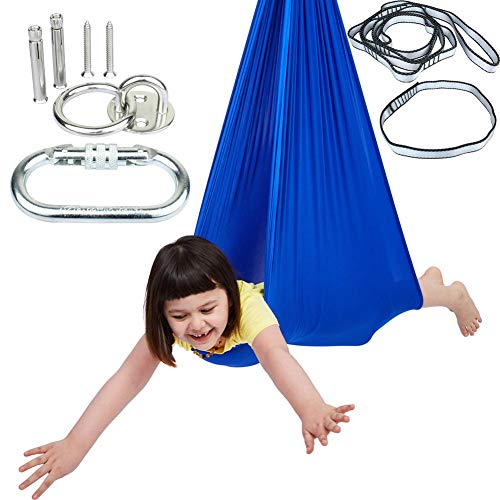 Indoor Sensory Swing for Kids with Mounting Hardware, Double-Layer Hanging Clothes Hammock Chair Snuggle Cuddle Lycra Pod Therapy Swings for Autism Child with Special Needs(Blue)