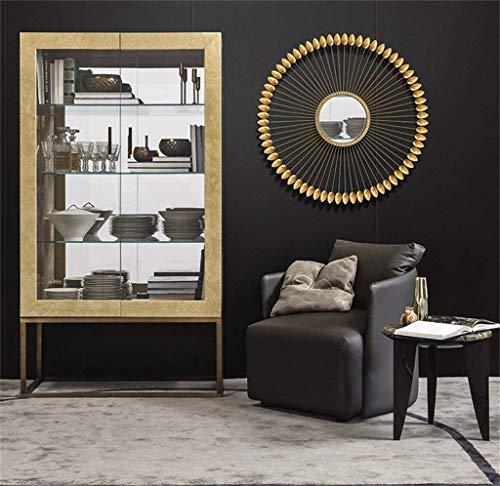 AJH Miroirs muraux Ronds Sunburst pour Salon Fer Art Grand Miroir Rond Or Miroir orné Argent décoratif Mural montable Shabby Ch