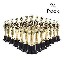 Confezione da 24 trofei Lawei da 15 cm di altezza in piedi su supporto in plastica nera. Realizzato in plastica ABS resistente e di alta qualità che può sopportare una buona caduta e non si rompe. Divertimento per concorsi per bambini o regali per ad...