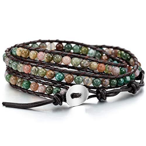 MOWOM Colorful Alloy Genuine Leather Bracelet Bangle Cuff Rope India Agate Bead 3 Wrap Adjuastable