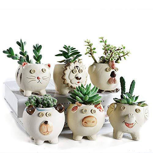 SUN-E Leuke Dieren Cartoon Boerderij Stijl Keramische Succulente Plant Pot Cactus Plant Pot Bloem Pot Container Planter Bonsai Pots 3.7 Inch/9.4CM met Drainage Gat 6 In Set
