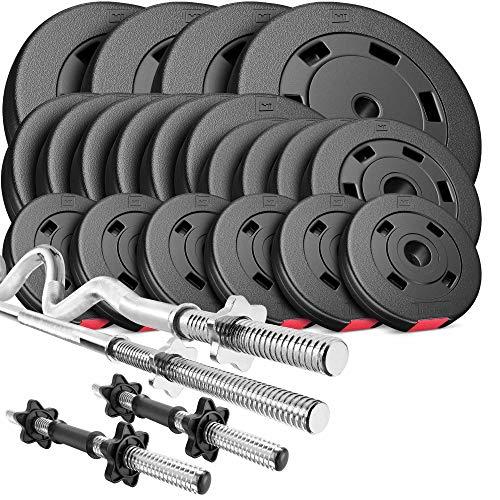 Hop-Sport Hantelset 105 kg 1x Langhantel-Stange, 1x SZ Curl-Stange, 2X Kurzhanteln, Gewichte 4x10kg / 6x5kg / 4x2,5kg / 6x1,25kg (super SZ)