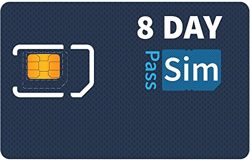 SIMpass Unlimited 4G LTE Data, Talk & Text SIM Card for 8 Days - Works in USA, Canada & Mexico