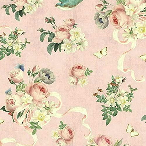 JOELLE STORE Rose Violet's Garden Austin Mall Discount mail order BTY Blush Fabric Main