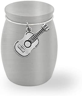 Small Mini Guitar Memorial Ashes Holder Container Jar Vial Brushed Stainless Steel Cremation Funeral Urn Music Musician